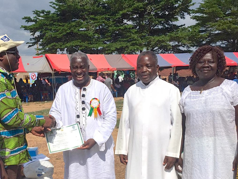 Msgr Simon awarded Best Fish Farmer for Aowin District
